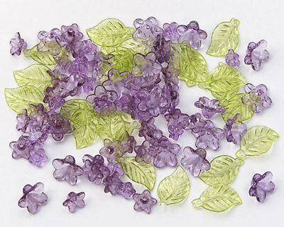 Acrylic Purple Flowers with Green Leaf Beads - 192 pieces Jewelry craft fnt](Crafts With Leaves)