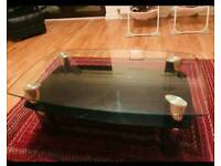 Glass coffee table with side table