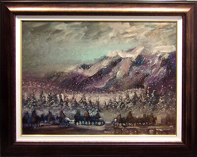 "Earl Biss ""Winter Ponies of the Nez Perce""#9 with Custom frame on Canvas  24x 36, used for sale  Aurora"