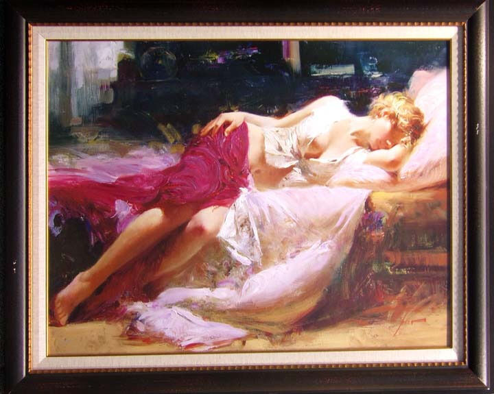 "Pino ""day Dream"" Framed Hand Signed & Embellished Giclee On Canvas L@@k!"