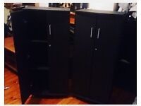 2 black office cabinets