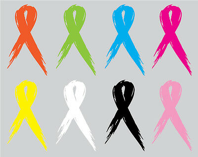 Home Decoration - Set of 2 -  Cancer Awareness Ribbon - Window Sticker Decal-3 Sizes Available