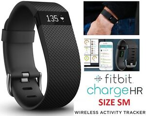 Like New Fitbit CHARGE HR Activity Wristband Black SMALL