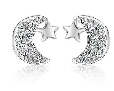 Classic Sterling Silver Cubic Zirconia Moon Star Stud Earrings Gift Box -