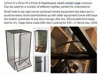 4ft x 2ft x 2ft Reptibreeze Screen Cage Vivarium with canopy dish