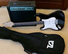 Stagg electric guitar, bag, strap, leads & 20 watt amplifier ''FIRST TO SEE WILL BUY'' LIKE NEW!!!!