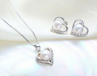 Sterling Silver Pearl Heart Crystal Pendant Earrings Necklace Set Gift Box PE4