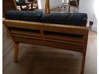 2 Solid oak 2 seater chairs