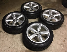 GENUINE AUDI A5/A6/A7/A8 ALLOYS W/DUNLOP WINTER TYRES 245/45/18 - 6mm - SLOUGH