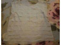 Topshop ladies grey short sleeve layered blouse size 10
