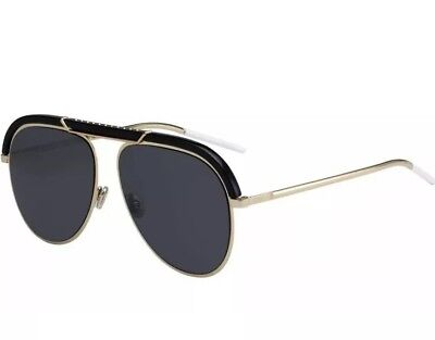 Christian Dior Desertic 2M2 Black Gold Grey Lens Men Women Sunglasses (Christian Dior Black And Gold Sunglasses)