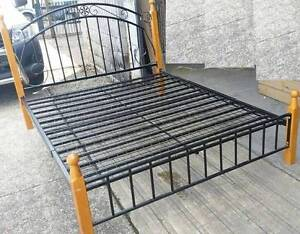 QUEEN BED wood and metal strong bed Old Guildford Fairfield Area Preview
