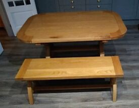 Solid Oak Country Style 140cm Dining Table & Matching 120cm Bench