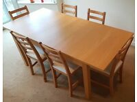 IKEA BJURSTA DINING ROOM TABLE AND SIX BÖRJE CHAIRS