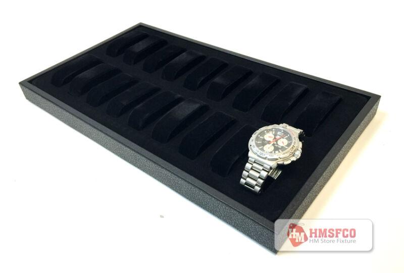18-Slot Watch Display Tray, Black, Velvet, 217-pbbla- NEW