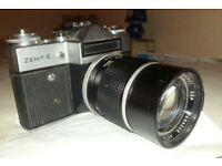 Zenit E SLR Vintage USSR Camera. 135mm Lens