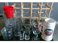 Beer glasses.. wine rack .. tumblers
