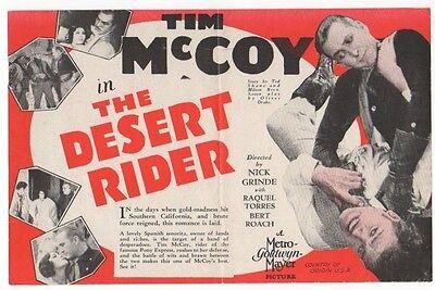 TIM McCOY Vintage 1929 MGM Western THE DESERT RIDER Silent Film MOVIE HERALD