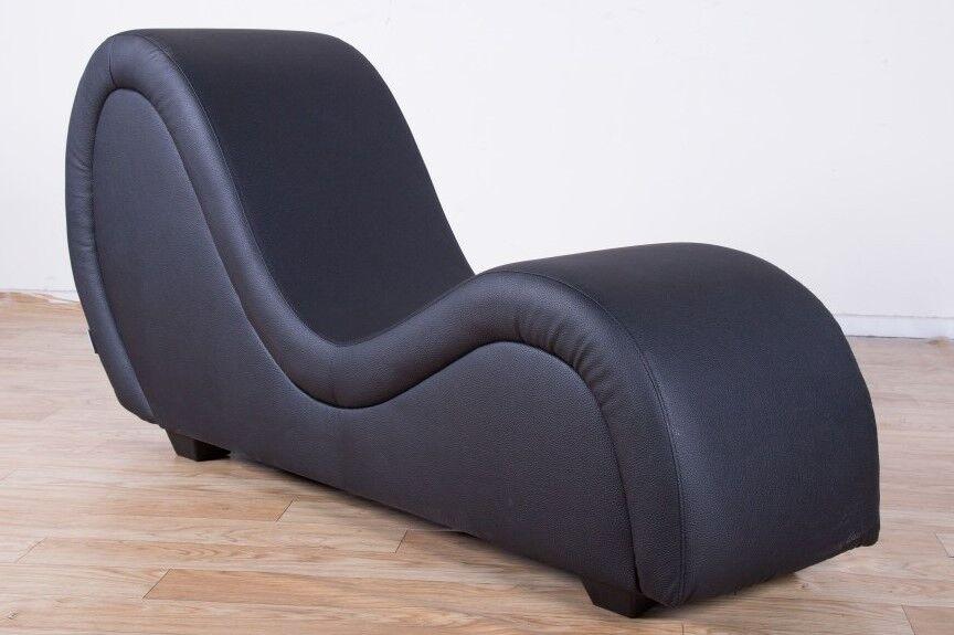 Sex Sofa, schwarz Kunstleder, Gaming Liege, Design Möbel, Erotik Couch Kamasutra