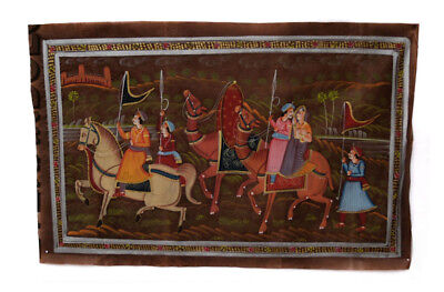 Hanging Wall Painting Mughal on Silk Art Scene de Life India 71x46cm 18