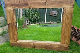 Solid pine rustic handmade mirror large