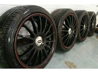 "Genuine Team Dynamic Monza R 18"" 5x108 alloys + near new matching tyres Ford Volvo Jaguar"