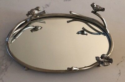Uttermost Birds on a Limb Small Metal and Mirror Decorative Tray