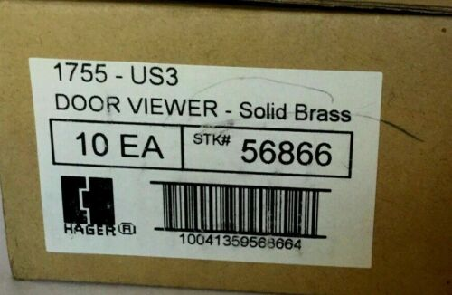 10 Pack Hager 1755-US3 160 Degree UL Door Viewer Bright Solid Brass ~ New ~