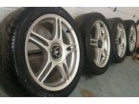 "Rare TSW centre lock 17"" 5x114.3 alloy wheels + tyres Nissan Honda Mitsubishi Chrysler subaru"