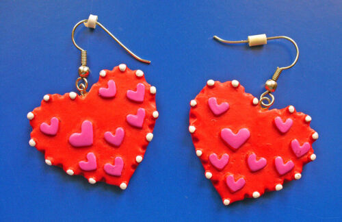 EARRINGS Valentines Vintage HEARTS Red & Pink White Dots Dangle Pierced Holiday