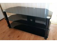 Large piano black glass TV stand