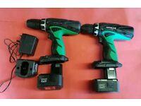 2 Hitachi cordless drills