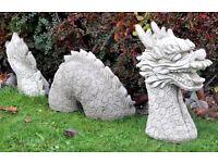 Large heavy garden stone dragon plus other garden statues