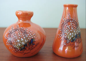 Pair of Carlton Ware Lucky White Heather crested china vases