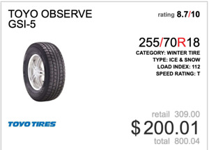 255/70/R18 Toyo GSI.5 Winter Tires (4) Without Rims