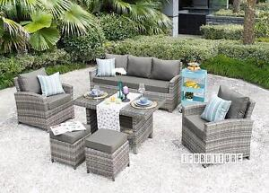 ifurniture Warehouse Sale -- VALENCIA 6 PC Patio Sofa And Dining Set *Aluminum Frame