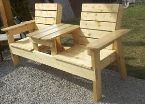outdoor double bench