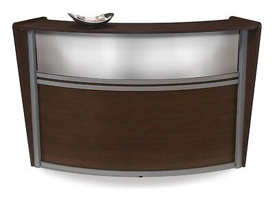 Contemporary Reception Desk In Walnut Finish With Plexi Glass And Silver Frame