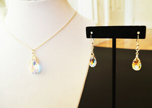 Swarovski Pear Drop Jewellery Set-Hand Made