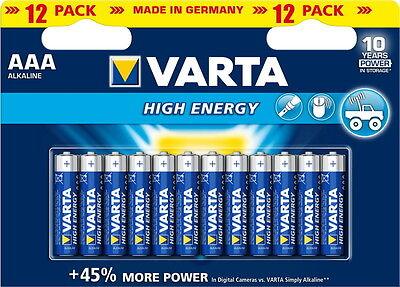 24 Varta 4903 High Energy AAA / Micro Alkaline Batterien im 12er Blister