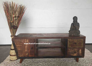 ⭐ Funky vintage solid recycled wood tv stand ⭐