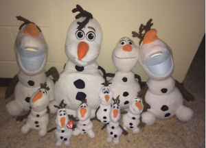 Huge lot of 10 Olaf Frozen Snowman Plush Dolls 1 is a Backpack