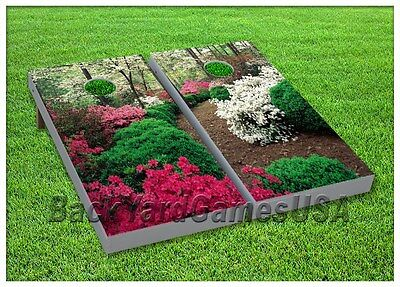 Cornhole Boards BEANBAG TOSS GAME w Bags Outdoor Wedding Country Flowers Set 156