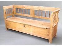 19th Century antique pine box settle - original and vintage