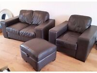 Reduced for quick sale - Chocolate Brown Leather Three Piece Sofa Suite - DFS, Stobart
