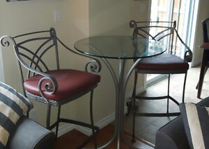 Hauser  glass high table and chairs