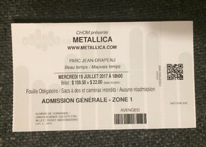 Metallica Ticket July 19 In Montreal