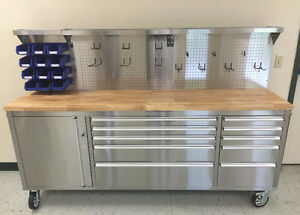 "NEW 84"" STAINLESS STEEL TOOL BENCH WITH BACKBOARD BOX"