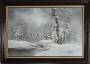 vintage original oil painting on canvas by John Cantrell 1880-19