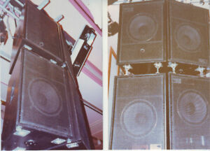 JBL Trapezoid Speakers, amps and Manfrotto stands.